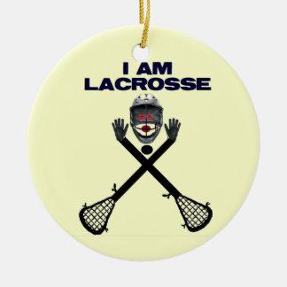 Je suis lacrosse ornement rond en céramique