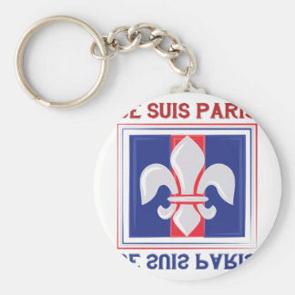 Je Suis Paris Basic Round Button Keychain