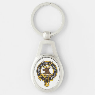 Je Suis Prest - Clan Fraser Crest Silver-Colored Oval Keychain