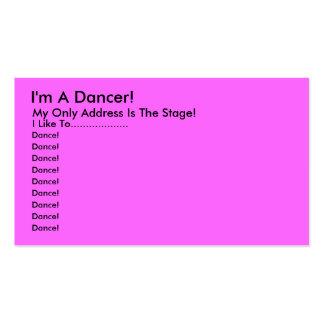 Je suis un danseur Mon seulement adresse est l Carte De Visite