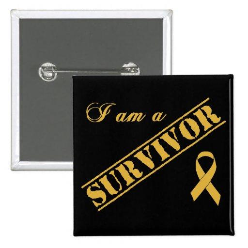 Je suis un survivant - ruban d'or badges