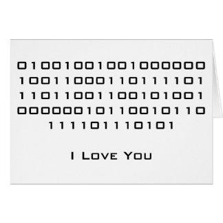 Je t aime en code binaire carte de vœux