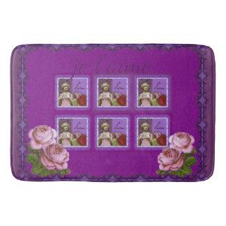 Je T'aime Purple Romantic Girl Vintage Collage Bath Mat