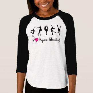 """""""Je T-shirt/noir et rose de filles aime patinage T-shirt"""
