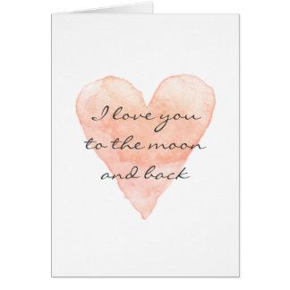 Je t'aime à la lune et à la carte de voeux arrière
