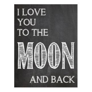 Je t'aime à la lune et à la carte postale arrière