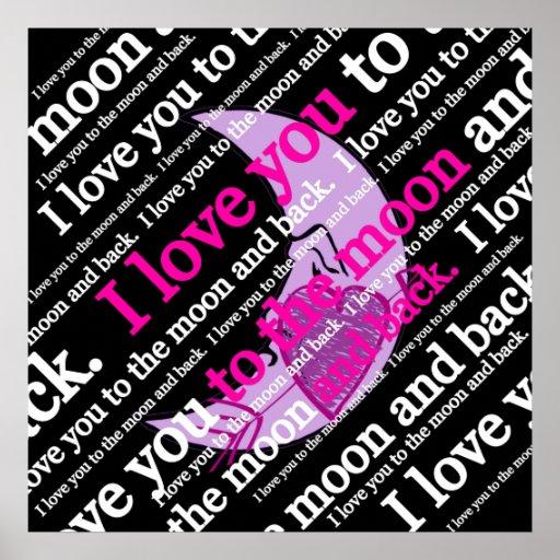 Je t'aime à la lune et à la typographie arrière posters