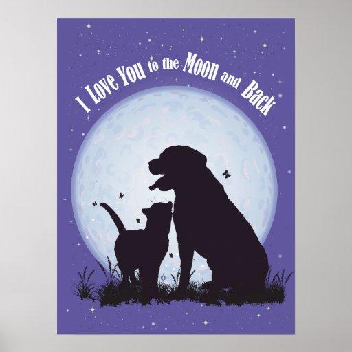 Je t'aime à la lune et à l'affiche arrière
