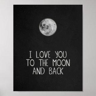 Je t'aime à la lune et à l'art arrière d'affiche poster