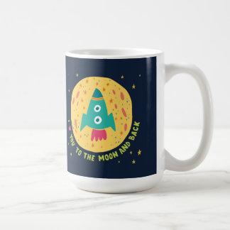 Je t'aime à la lune et au Rocketship arrière Mug