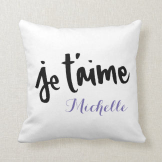 Je T'aime - Brush lettering Customisable Throw Pillow