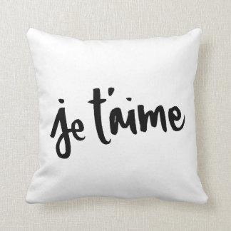 Je T'aime - Brush lettering Throw Cushion