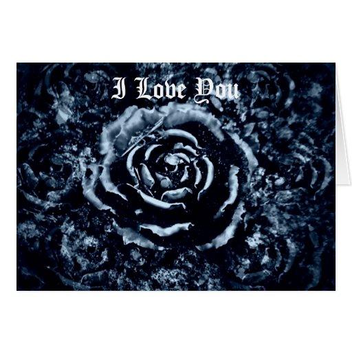 Je t'aime carte romantique gothique de rose de ble