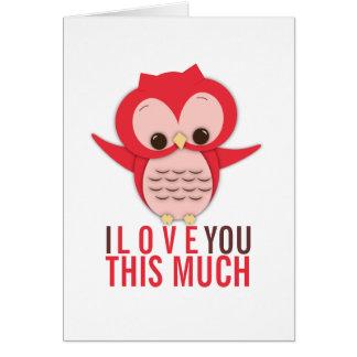 Je t'aime cette beaucoup de carte de hibou