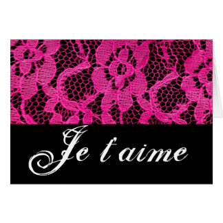 Je T'aime Hot Pink/Black Lace Card