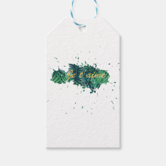 Je t'aime I love you tropical leaf Gift Tags
