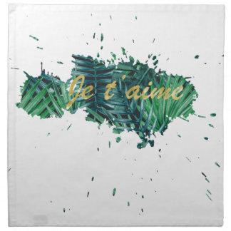 Je t'aime I love you tropical leaf Napkin