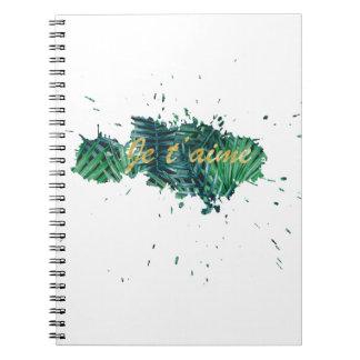 Je t'aime I love you tropical leaf Spiral Notebook