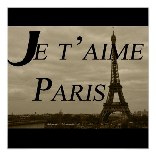 Je t'aime Paris Poster