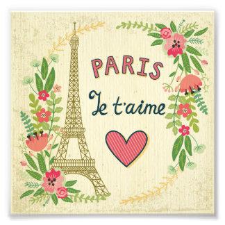 je t'aime,paris,vintage,eiffeltower,heart,flower,r photo print