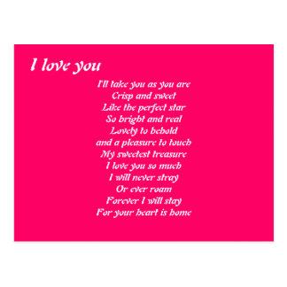 Je t'aime postacards de poème carte postale