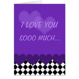 Je t'aime tellement pourpre avec des contrôles et carte de vœux