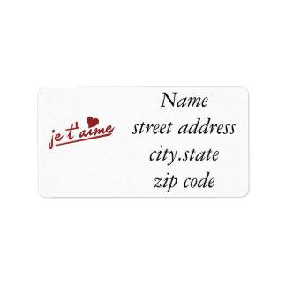 je te aime custom address labels