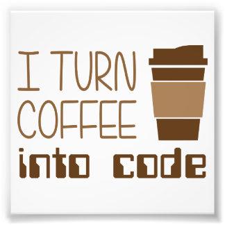 Je transforme le café en code de programmation impression photographique