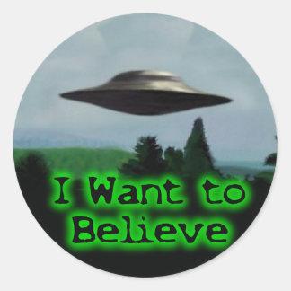 Je veux croire sticker rond