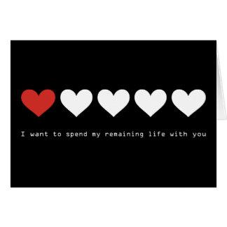 Je veux passer ma vie restante avec vous carte de vœux