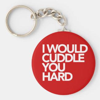 Je vous caresserais dur porte-clé rond