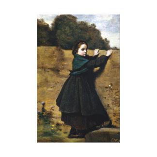 Jean-Baptiste Camille Corot Curious Little Girl Canvas Print