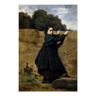 Jean-Baptiste Camille Corot Curious Little Girl Poster