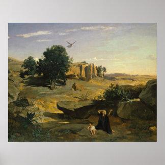 Jean-Baptiste-Camille Corot - Hagar Poster