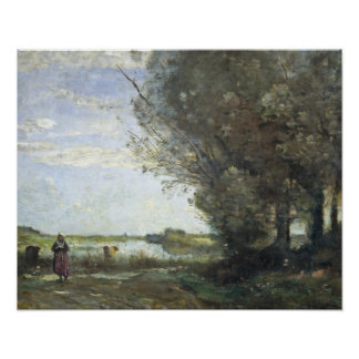 Jean-Baptiste-Camille Corot - River View Poster