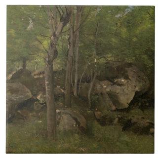 Jean-Baptiste-Camille Corot - Rocks in the Forest Tile