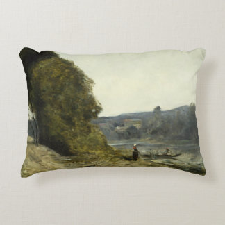Jean-Baptiste-Camille Corot - The Departure Decorative Pillow