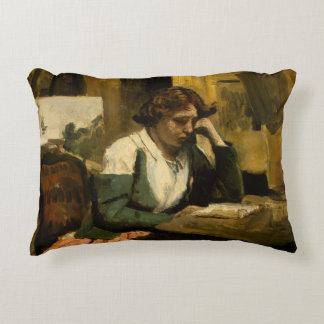 Jean-Baptiste-Camille Corot - Young Girl Reading Decorative Pillow