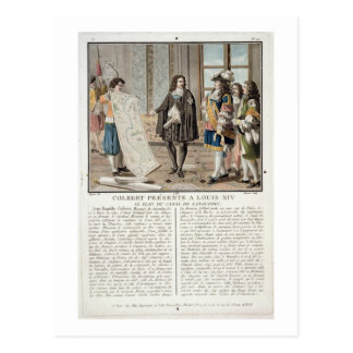 Jean Baptiste Colbert (1619-83) presents the map o Postcard