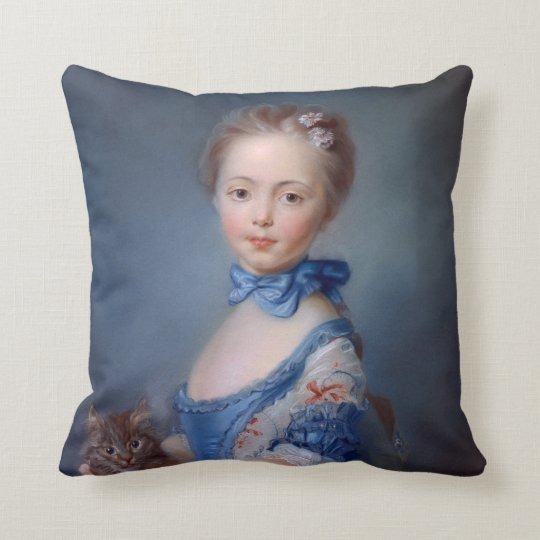 Jean-Baptiste Perronneau: Girl with Kitten Throw Pillow