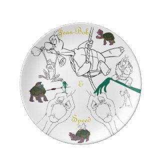 "Jean-Bob&Speed Porcelain Sketch Plate (8.5"")"