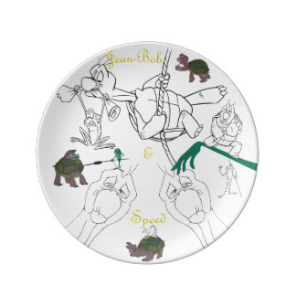 "Jean-Bob&Speed Porcelain Sketch Plate (8.5"") Porcelain Plates"