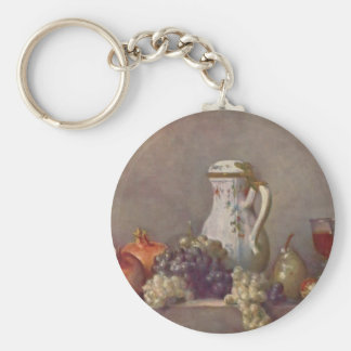 Jean Chardin- Still life with porcelain teapot Basic Round Button Keychain