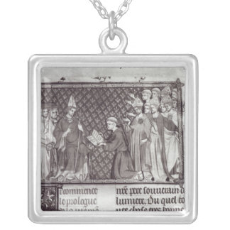 Jean d'Antioch before Martin IV Silver Plated Necklace