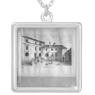 Jean de La Fontaine's  House at Silver Plated Necklace