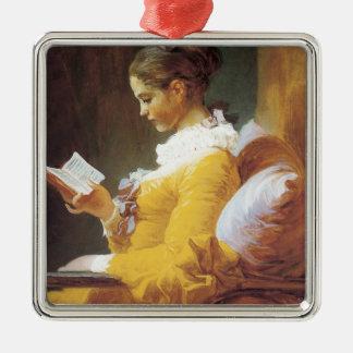 Jean-Honore Fragonard The Reader Silver-Colored Square Ornament