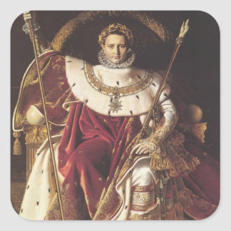 Jean Ingres-Portrait of Napoléon on ImperialThrone Square Sticker