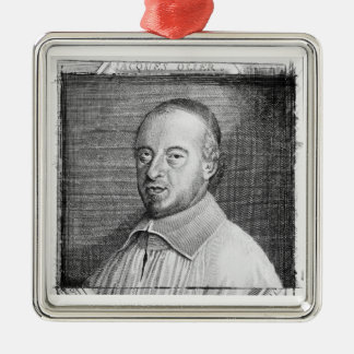 Jean Jacques Olier (1608-57) (engraving) (b/w phot Silver-Colored Square Ornament
