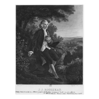 Jean-Jacques Rousseau composing 'Emile' Postcard