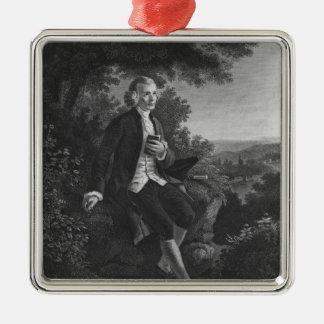 Jean-Jacques Rousseau composing 'Emile' Silver-Colored Square Ornament